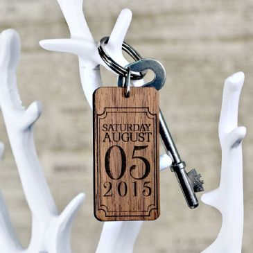 Custom Special Date Keyring - Rectangle Frame Design
